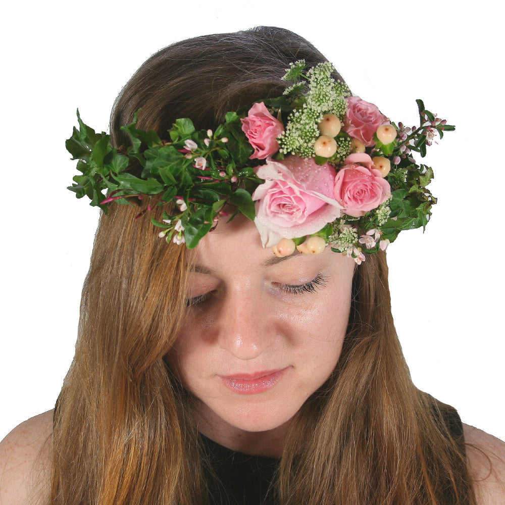 Brisbane school formals flower crowns divine flowers fresh flower crown delicate and light weight with spray roses ivy and seasonal flowers izmirmasajfo Gallery