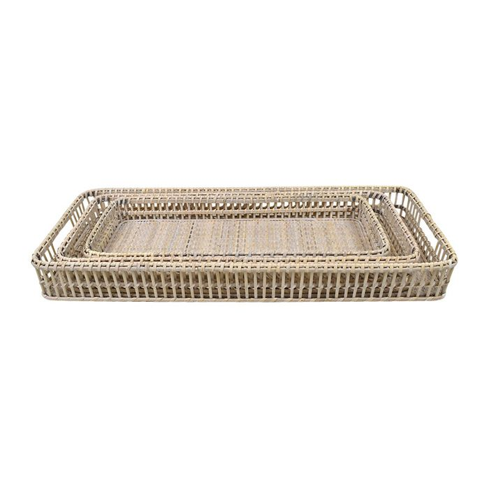 Pella Rattan Rectangular Tray Nestled Together