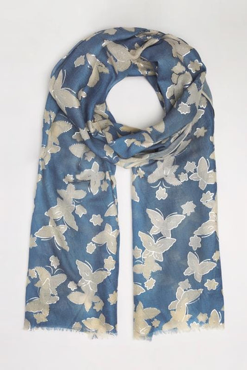 Navy & Gold Butterfly Print Scarf