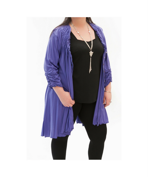 Purple Cotton Jersey Mix Cardi