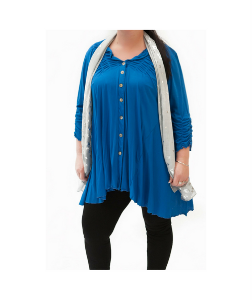 Blue Cotton Jersey Mix Cardi