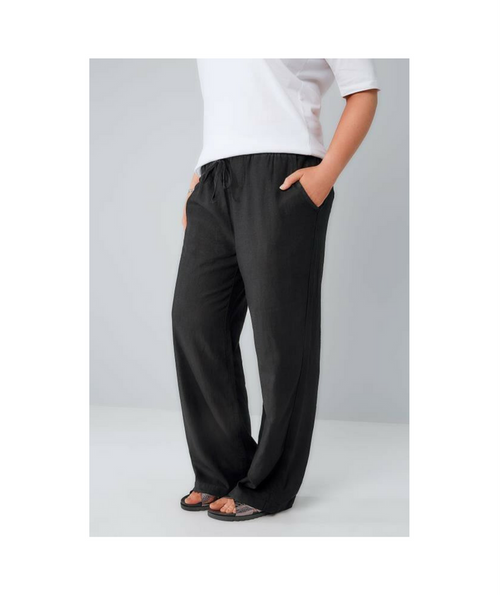 Linen Mix Wide Leg Trousers