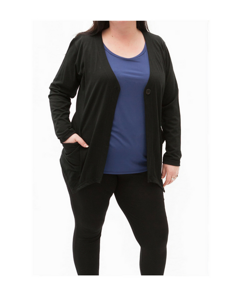 Top Drawer Black Merino Cardigan