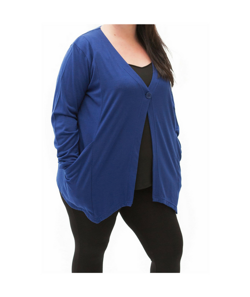 Top Drawer Blue Merino Cardigan