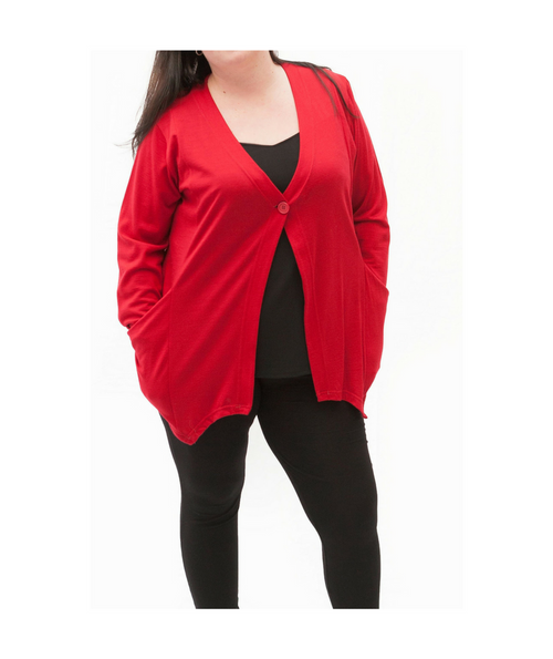 Top Drawer Red Merino Cardigan