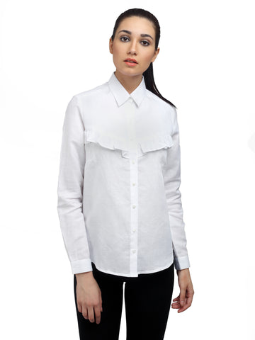 White Linen Shirt for ladies, formals, shirts for women, office tops, Party wear dress, officewear for women, workwear for ladies, dresses for women, office clothes for women