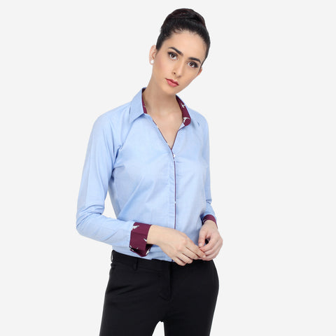 ae62b7dd308f5b cotton blue shirt for ladies, formals, shirts for women, office tops, Party