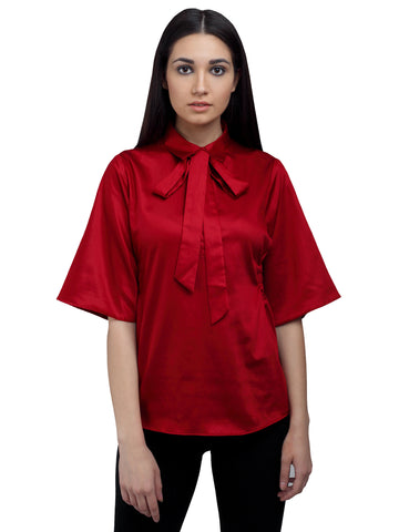 Satin Bow Tie Maroon Blouse, formals, shirts for women, office tops, Party wear dress, officewear for women, workwear for ladies, dresses for women, office clothes for women