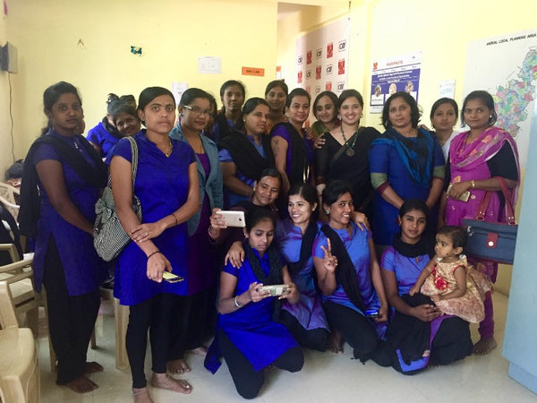 With the girls of Beauty training program in Karnataka