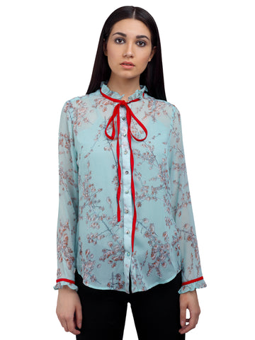 Georgette Ruffled Shirt with Bow, formals, shirts for women, office tops, Party wear dress, officewear for women, workwear for ladies, dresses for women, office clothes for women