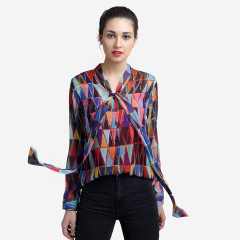 Printed Georgette Bow Tie Formal Shirt for Women