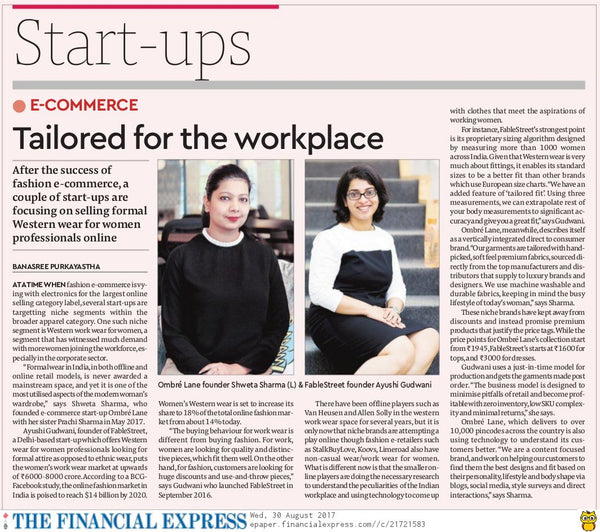 Ombré Lane Featured by Financial Express