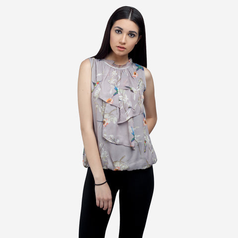 Ruffled Neck Sleeveless Silk Top Shop Now, formals, shirts for women, office tops, Party wear dress, officewear for women, workwear for ladies, office clothes for women