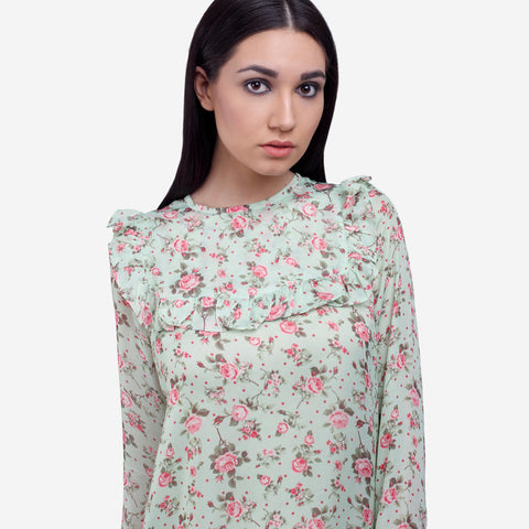 Printed Silk Ruffles Formal Top for Women, officewear for women, workwear for women, printed tops, ruffles top for women, ladies workwear, ladies officewear buy online, must have women's formal clothing, buy ladies officewear online