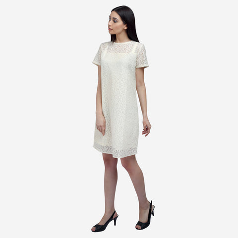 Blazers, Blazers, Scarves, Off white lace knee length formal dress for women, Party wear dress, officewear for women, workwear for ladies, office clothes for women