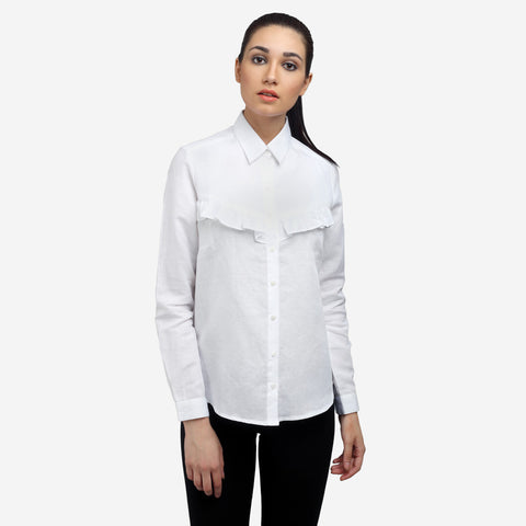White Linen Formal Shirt Shop Now, formals, shirts for women, office tops, Party wear dress, officewear for women, workwear for ladies, office clothes for women