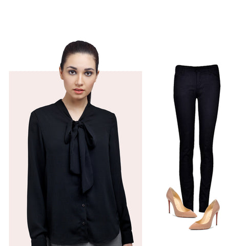 Georgette Shirt with Trousers and Nude shoes