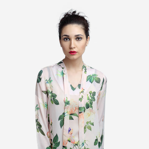 Printed Silk Bow Tie Officewear Top for Women, formals, shirts for women, office tops, Party wear dress, officewear for women, workwear for ladies, office clothes for women, Shop Now