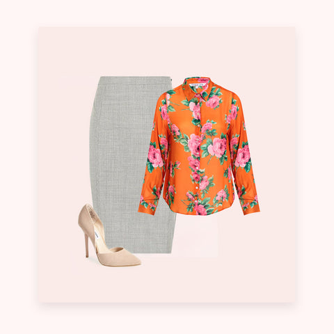Bold floral shirt with neutral skirt and shoes