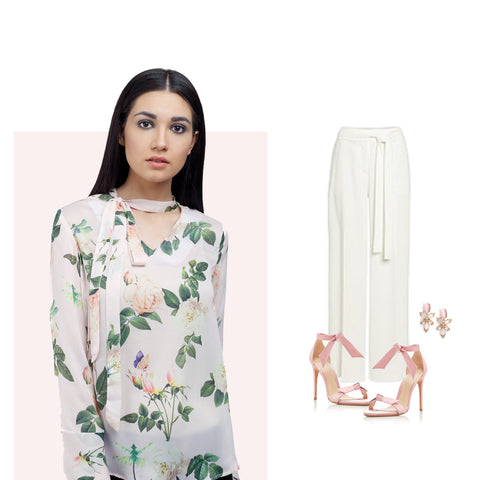 Floral Print Top with pink earrings and shoes