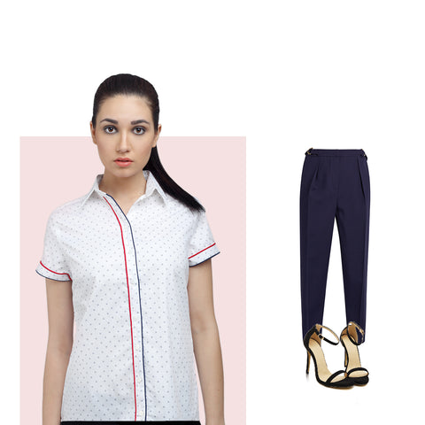 Printed Cotton Shirt with Pleated Trousers