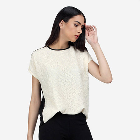 Black and White Cotton Georgette Top