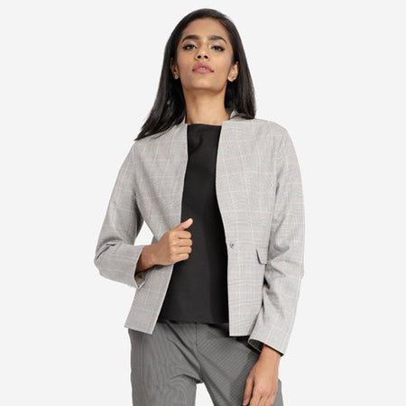 Fossil Grey Workwear Blazer With Front Pockets