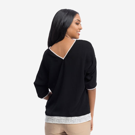 Kimono Sleeve Black Top with Lace Detail