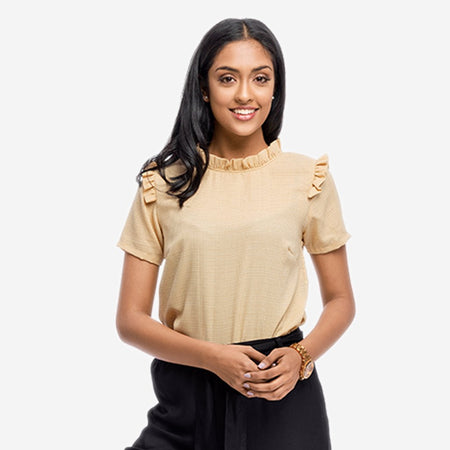 Tan Ruffled Georgette Top with Back Placket