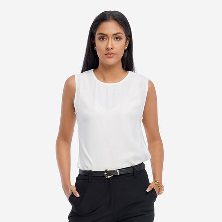 White Rayon Jacquard Sleeveless Basic Top