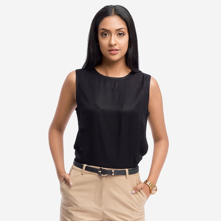 Black Twill Sleeveless Basic Office Top