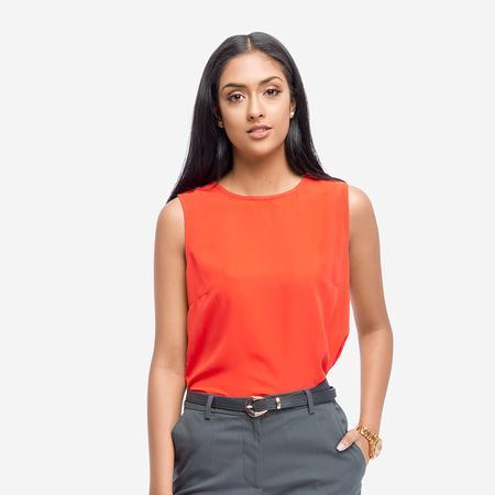 Orange Crepe Sleeveless Basic Formal Top