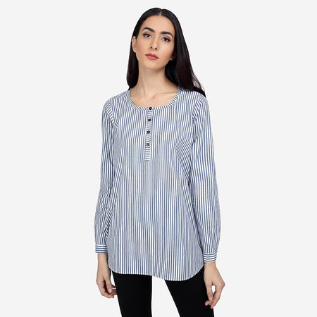 Grey White Cotton High Low Tunic with Stripes