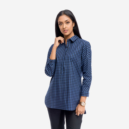 Space Blue and Black Plaid Tunic