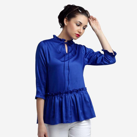 Satin Royal Blue Peplum Top with Bow Tie