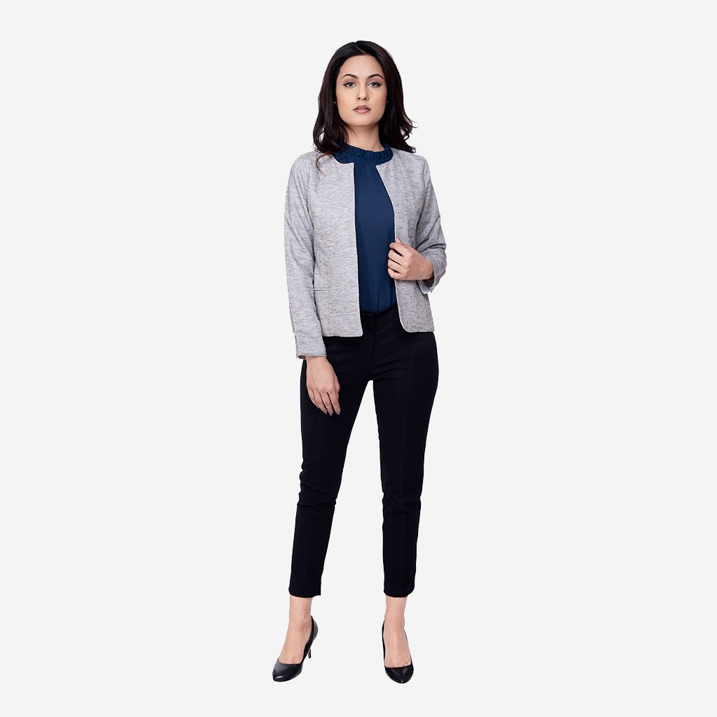 Grey Linen Melange Formal Blazer