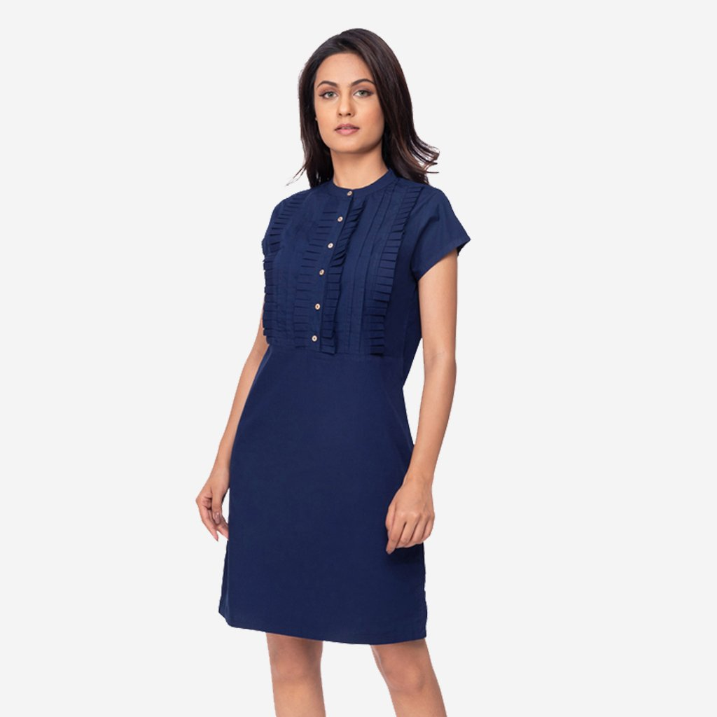 1076743c5e98 Navy Blue Pleated A-line Formal Dress for women