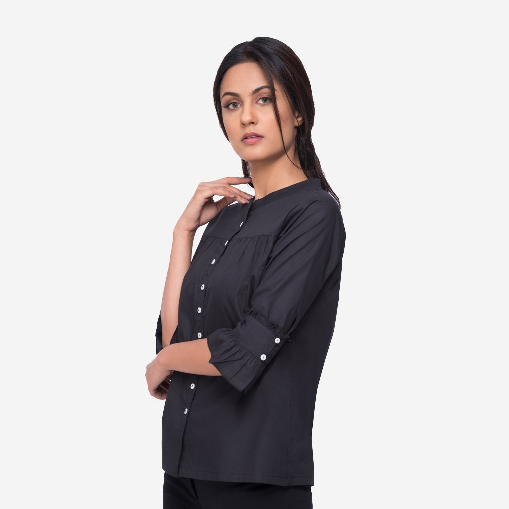 Black Cotton Loose Fit Shirt with Pleated Cuffs