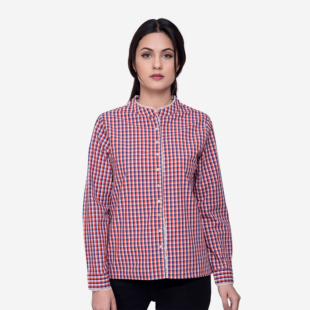 Red White Plaid Cotton Work Shirt with Lace