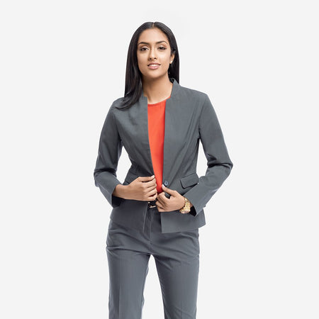 Grey Tailored Formal Blazer With Front Pockets