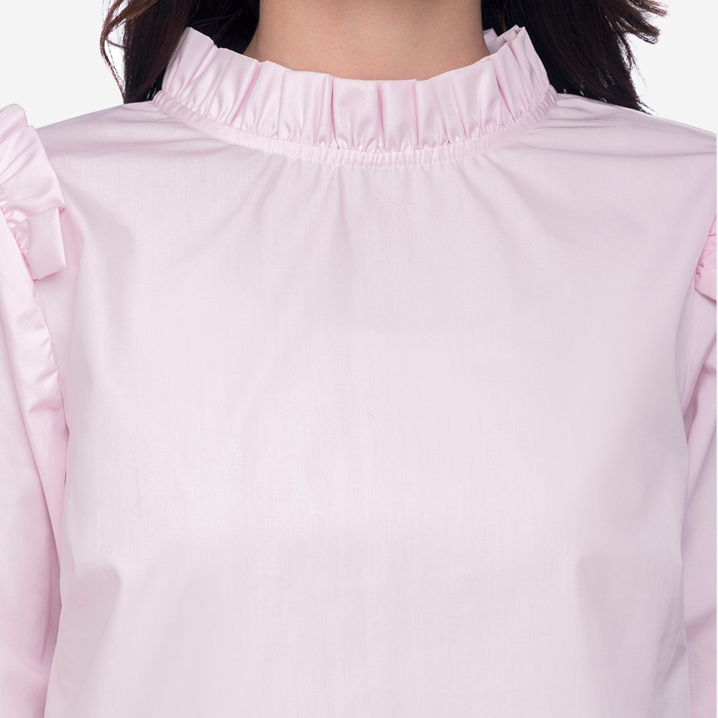Pink Ruffled Cotton Formal Top with Back Opening