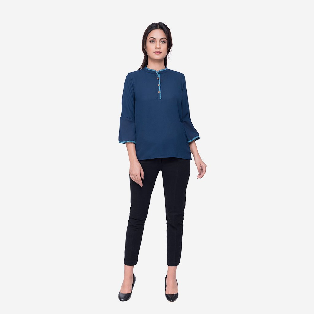 Easy Care Smart Casual Top Blue