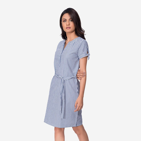 Grey Cotton Striped Knee Length A-line Work Dress