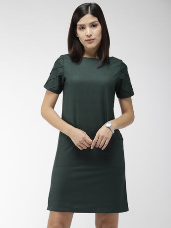 Green and Navy Blue Checked Sheath Dress
