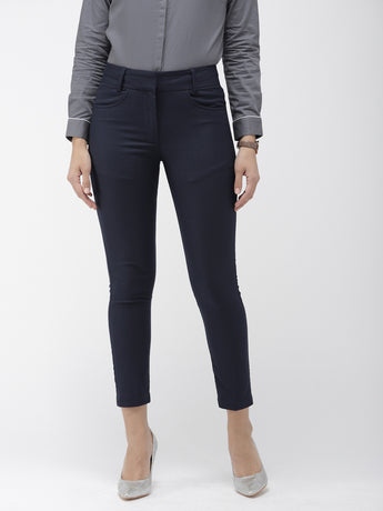 Blue Self-Checked Cropped Slim Fit Trousers