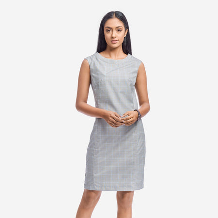Grey Checks Sleeveless Tailored Sheath Dress
