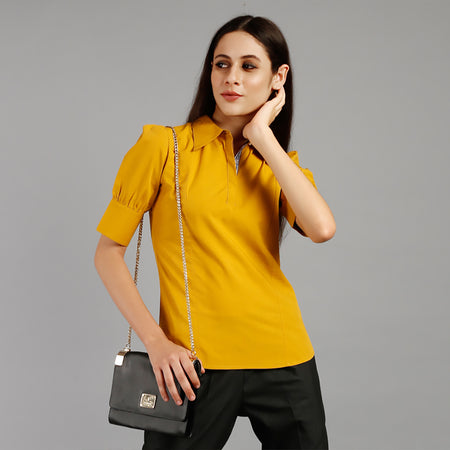 Spectra Yellow Puff Sleeve Top