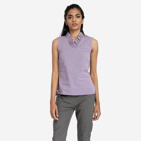 Mauve Ruffle Neck Sleeveless Cotton Top