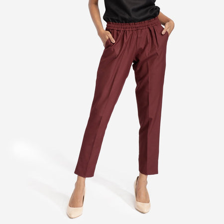 Maroon Formal Pleated Trousers