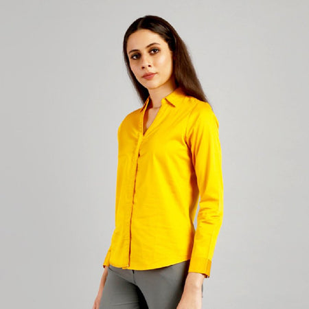 Fire Yellow V-Neck Formal Shirt